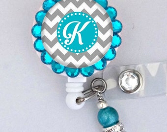 Teal and sliver monogram ID badge reel (E115)
