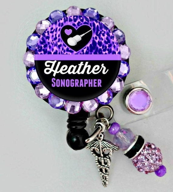 Personalized Rhinestone Ultrasound Sonographer Bling Retractable ID Badge Reel