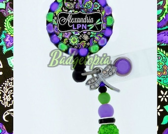 Purple and green Design Retractable ID Badge Reel - Personalized Rhinestone Nurse Badge Holder, Floral Badge Reel, dragonfly badge  (E327)