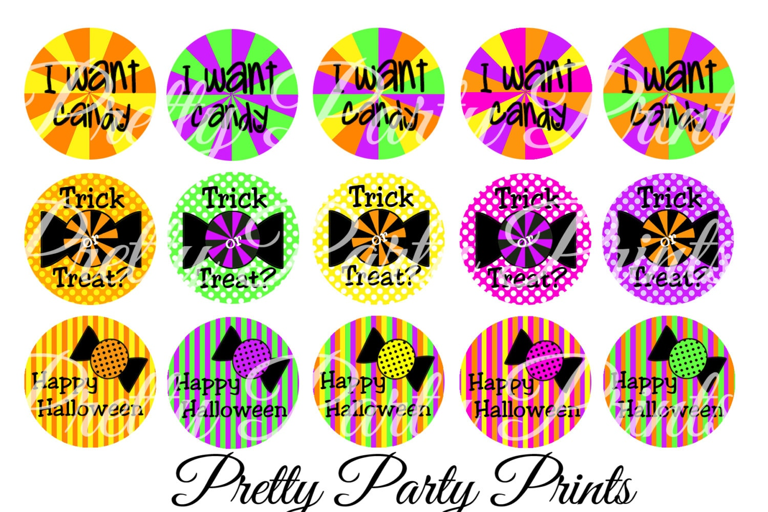 Instant Download I Want Candy 1 inch Round Circles for Bottle Caps, Hair  Bows, Jewelry, Magnets and Scrapbooking