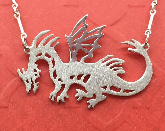 Reversible Dragon Necklace in Sterling Silver for Maleficent and Game of Thrones Fans