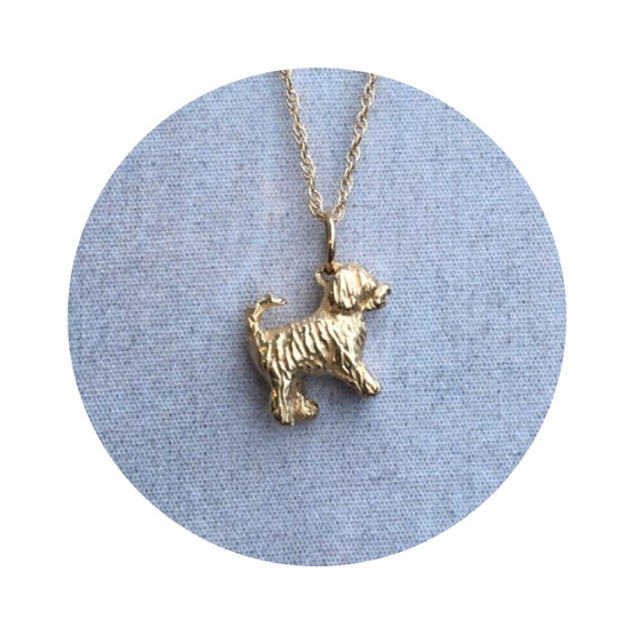 Travis Goldendoodle - Labradoodle Dog Charm / Pendant in 14k Yellow Gold