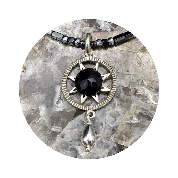 Black Onyx Sun Star Pendant in Sterling Silver - the Victorian Details Architectural Collection - the Village of Round Lake