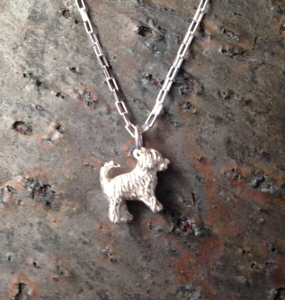 Travis Goldendoodle - Labradoodle Dog Charm / Pendant in Sterling Silver