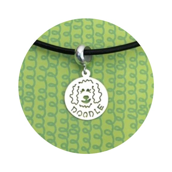 Charm DOODLE Dog Disc Goldendoodle - Labradoodle Dangle Charm Bead  - in Silver