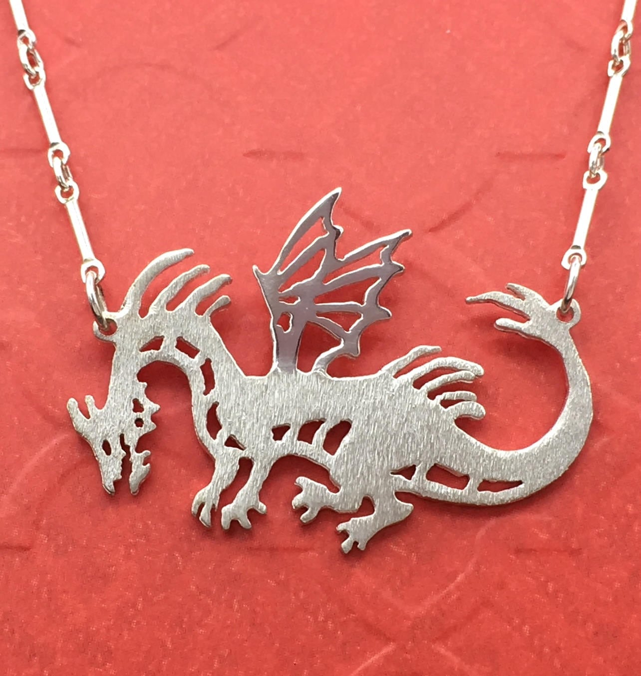 Reversible Fine Silver Dragon Pendant Handcrafted