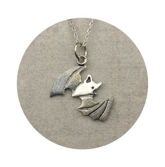 Flying Bat Pendant - Let This Spooky Little Stellaluna Halloween Necklace Swoop into your collection - Handmade from Sterling Silver