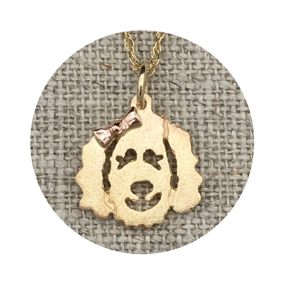 Goldendoodle - Labradoodle Dog Pendant / Charm in Yellow or White Gold with Rose Gold Bow