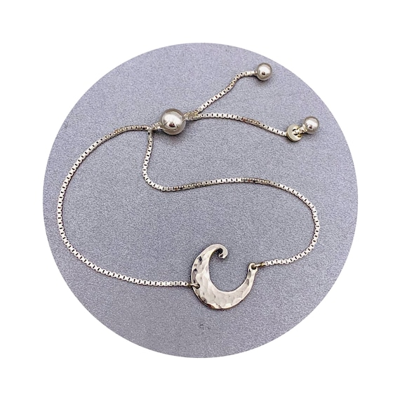 Moon Bracelet - A Whimsical Hammered Crescent Handmade in Sterling Silver on a adjustable slide clasp box chain