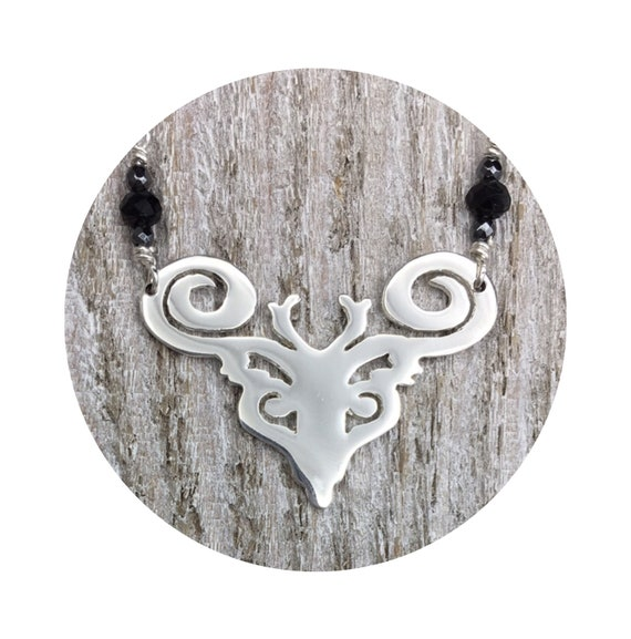 Deer - Elk - Reindeer - Caribou - Stag Necklace with Black Spinel & Hematite in Silver - Victorian Details Architectural Collection