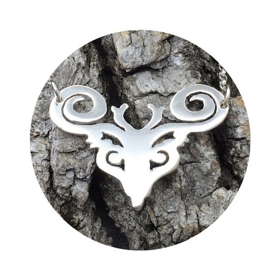Reversible Deer - Elk - Reindeer - Caribou - Stag Necklace in Silver - Victorian Details Architectural Collection - Village of Round Lake