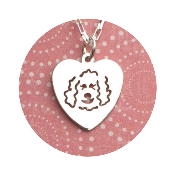I Love My Goldendoodle - Labradoodle Dog Heart Charm / Pendant - in Sterling Silver