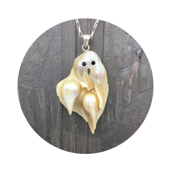 Ghost Pendant - Baroque Freshwater Pearl is a Perfect Slimer For Your Inner Ghostbuster with Sterling Silver Bail & Black Spinel Eyes ~ OOAK