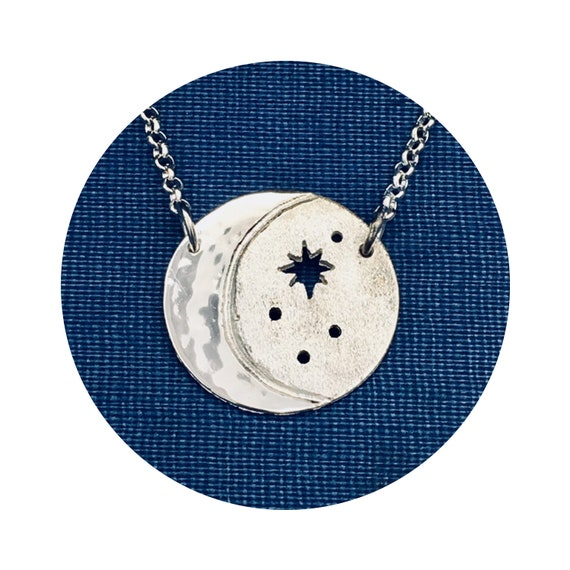 Mystical Cosmos Crescent Moon Oxidized Starry Night Sky Small Silver Disc Adjustable Necklace