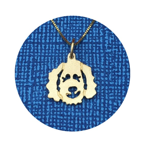 Clyde Goldendoodle - Labradoodle Dog Pendant / Charm in 14k Yellow or White Gold