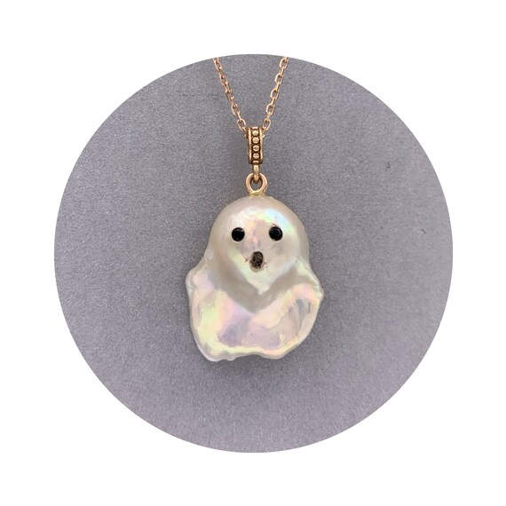 Ghost Pearl Pendant - Shimmering One of a Kind Baroque Freshwater Pearl Pendant w/ 14k Rose Gold Bail & Black Spinel Eyes ~ Halloween OOAK