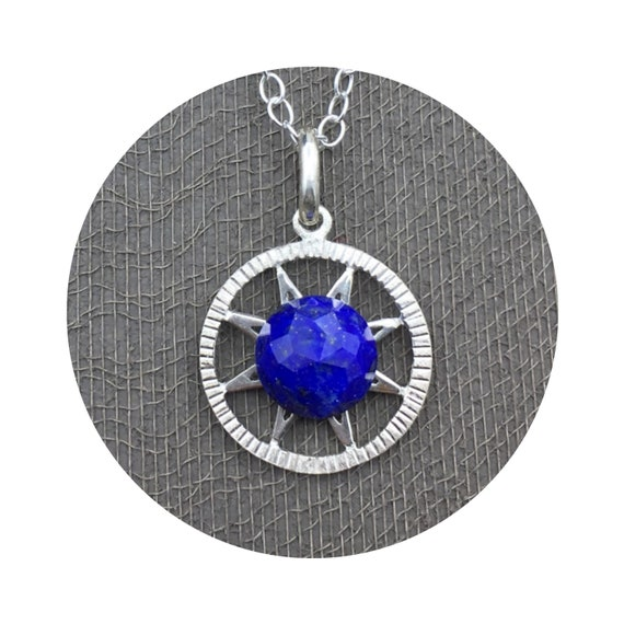 Lapis Starry Night Pendant in Sterling Silver - Victorian Details Architectural Collection - the Village of Round Lake