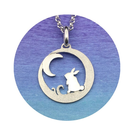 Sweet Silver Bunny Moon Pendant - Necklace - A great way to tell someone I love you to the moon and back