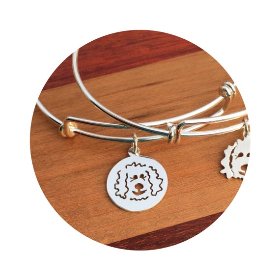 Doodle Disc Goldendoodle - Labradoodle Dog Adjustable Bangle Bracelet - in Sterling Silver