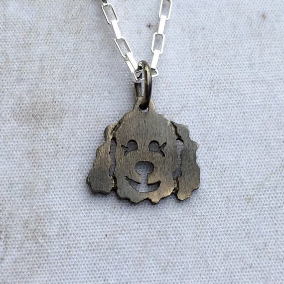 Molly Goldendoodle - Labradoodle Dog Charm / Pendant Pendant - Charm in Oxidized Sterling Silver