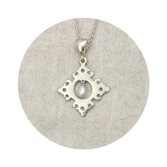 Wesley Diamond White Pearl Pendant in Sterling Silver - the Victorian Details Architectural Collection - the Village of Round Lake