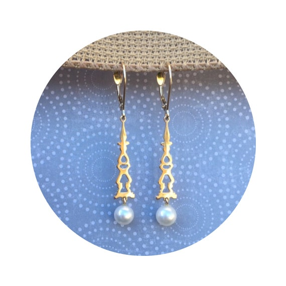 Auditorium Earrings in 14K Yellow Gold with Fresh Water Pearl Drops - Victorian Details Architectural Collection - Village of Round Lake