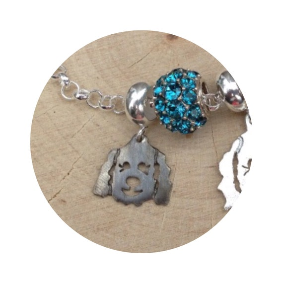 Molly Goldendoodle - Labradoodle Dog Dangle Charm Bead fits popular bead bracelets - in Oxidized Silver