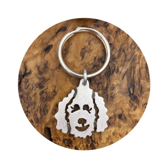 A Doodle Dog Holds the Key to my Heart Keychain in Sterling Silver - Goldendoodle - Labradoodle
