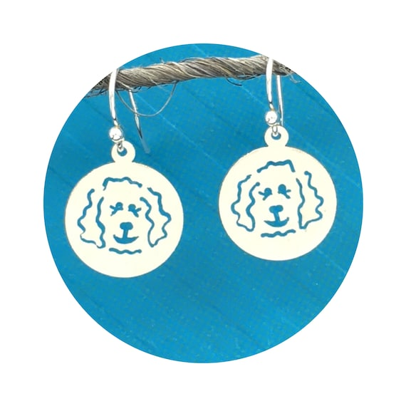 Doodle Dog Disc Goldendoodle - Labradoodle Polished French Wire Earrings in Sterling Silver