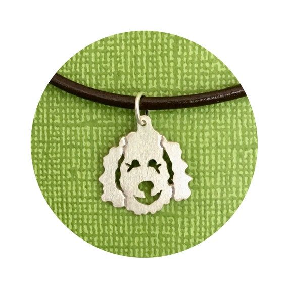 Large Clyde Goldendoodle - Labradoodle Dog Pendant / Charm- in Sterling Silver