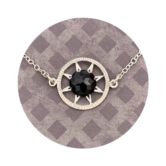Black Rose Cut Onyx Sun Star Necklace in Sterling Silver - the Victorian Details Architectural Collection - the Village of Round Lake