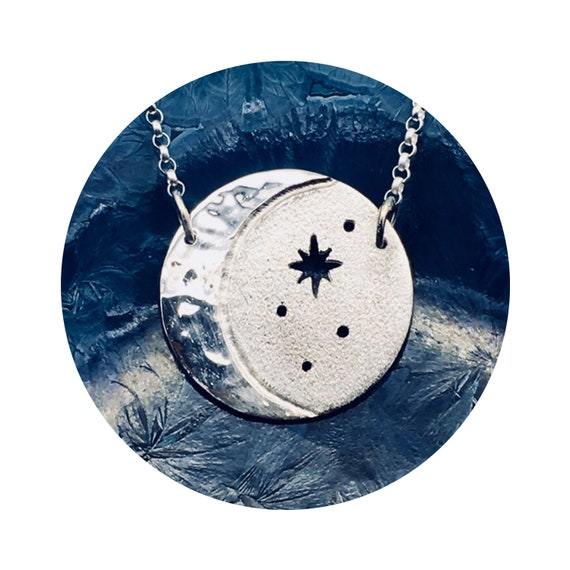 Mystical Cosmos Crescent Moon - Oxidized Starry Night Sky - Medium Silver Disc Adjustable Necklace