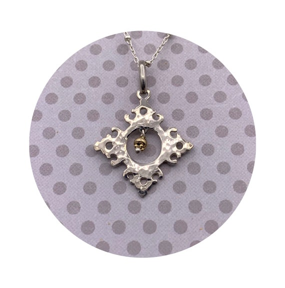 Wesley Diamond Pendant in Sterling Silver with 14k beads - Victorian Details Architectural Collection - the Village of Round Lake