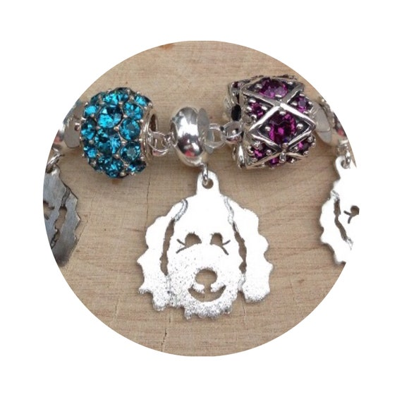 Large Clyde Goldendoodle - Labradoodle Dog Pendant / Charm Bead fits popular bead bracelets - in Sterling Silver