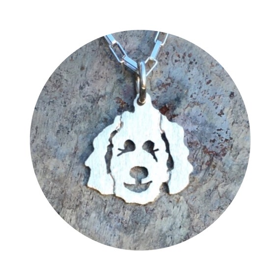 Clyde Goldendoodle - Labradoodle Dog Pendant / Charm in Sterling Silver