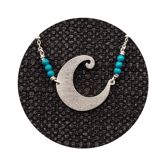 Whimsical Crescent Blue Moon Pendant Handmade in Sterling Silver and Accented With Turquoise Beads Suspended from a Beaded Cable Chain