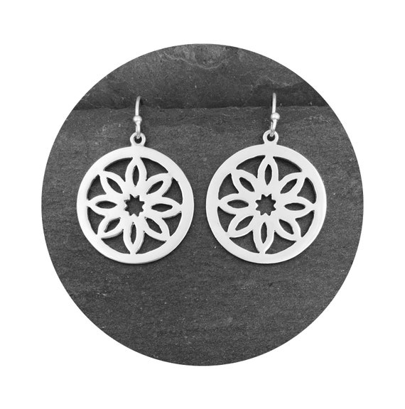 Burlington Star Sunburst Earrings in Sterling Silver - the Victorian Details Architectural Collection - the Village of Round Lake