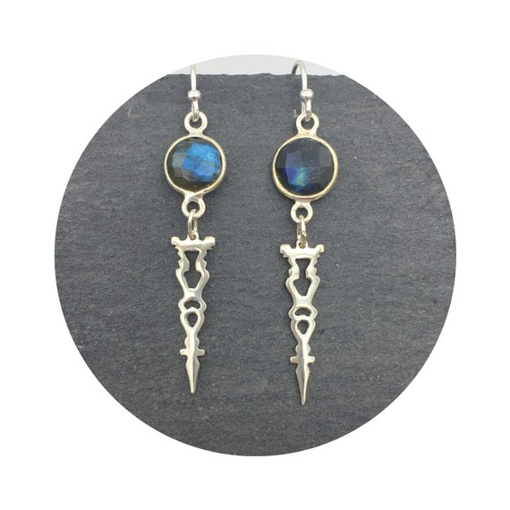 Auditorium Checkerboard Labradorite Earrings in Sterling Silver - Victorian Details Architectural Collection - the Village of Round Lake