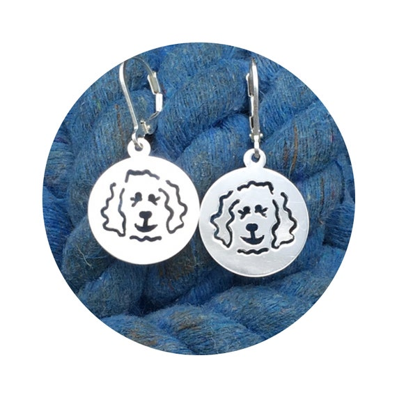 Doodle Dog Disc Goldendoodle - Labradoodle Leverback Earrings in Sterling Silver