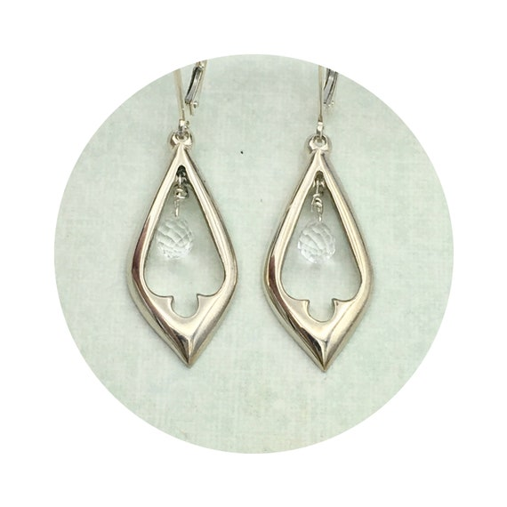 Quartz Crystal Briolette Drop Ferris Tracker Organ Earrings in Silver - Victorian Details Architectural Collection - Village of Round Lake