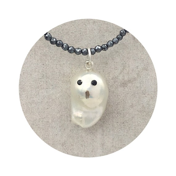 Mini Ghost Pearl Necklace - A One of a Kind Halloween Baroque Freshwater Pearl Pendant with Sterling Silver Bail & Black Spinel Eyes