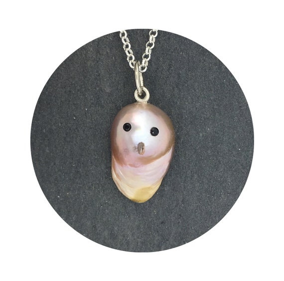 Mini Ghost Pearl Twilight Necklace - A One of a Kind Halloween Baroque Freshwater Pearl Pendant w/ Sterling Silver Bail & Black Spinel Eyes