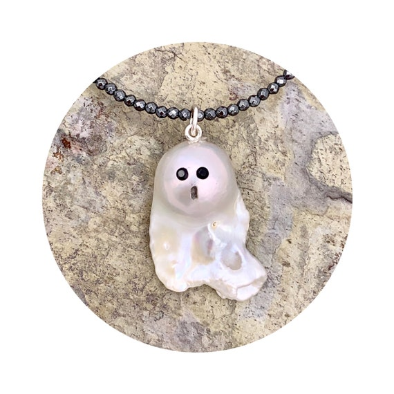 Shimmering Ghost Pearl Necklace - A One of a Kind Halloween Baroque Freshwater Pearl Pendant with Sterling Silver Bail & Black Spinel Eyes