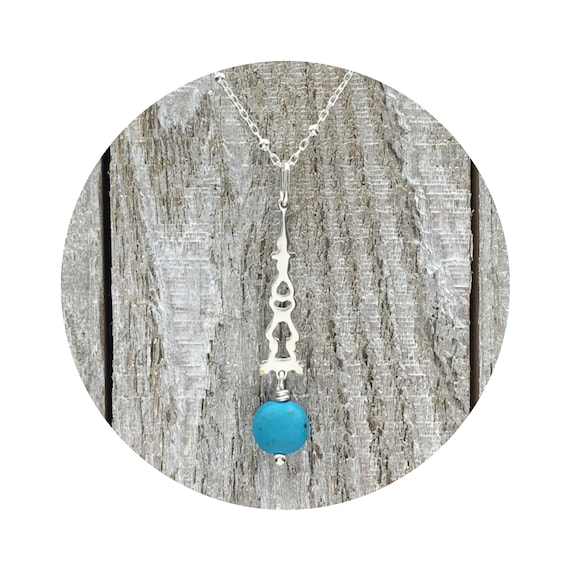 Turquoise Blue Magnesite Stone Drop Pendant in Sterling Silver Inspired By Victorian Architecture – The Round Lake Collection