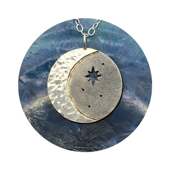 Mystical Cosmos Crescent Moon Oxidized Starry Night Sky Silver Disc Pendant