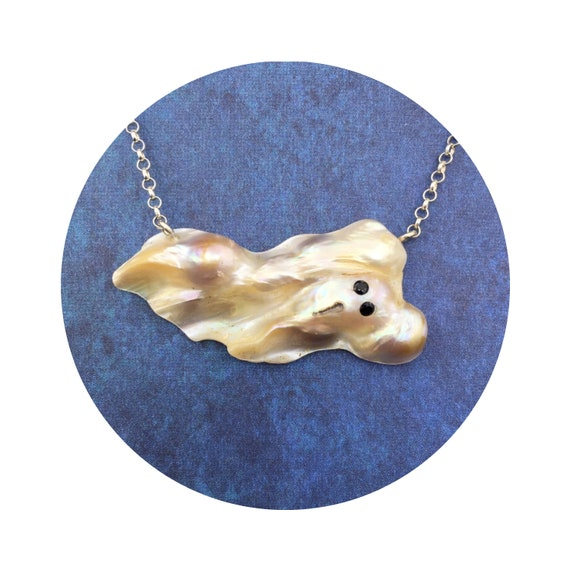 Shimmering Ghost Halloween Necklace - A Unique Baroque Freshwater Pearl with Sterling Silver Chain & Black Spinel Eyes ~ OOAK