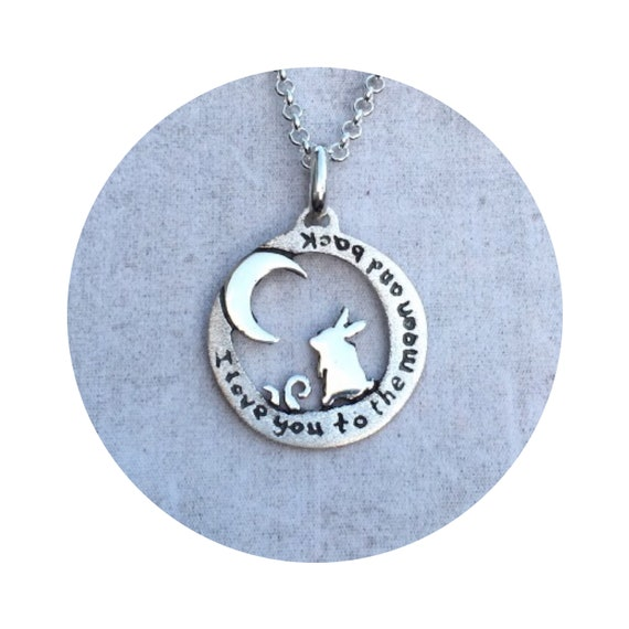 Sweet Silver Bunny Moon Pendant Necklace - A great way to tell someone I love you to the moon and back
