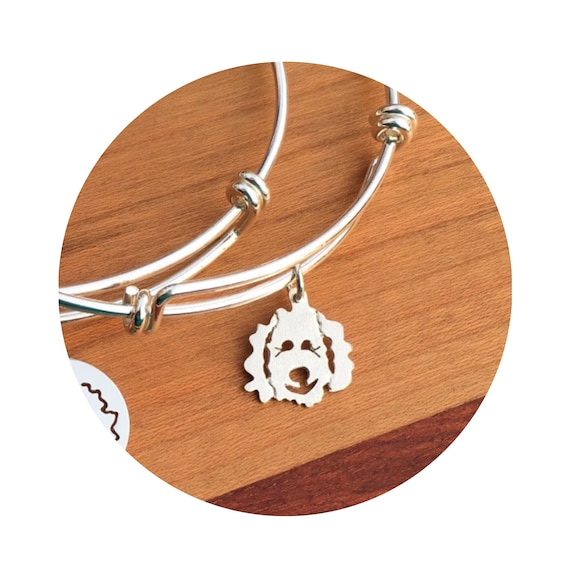 Clyde Goldendoodle - Labradoodle Dog Adjustable Bangle Bracelet in Sterling Silver