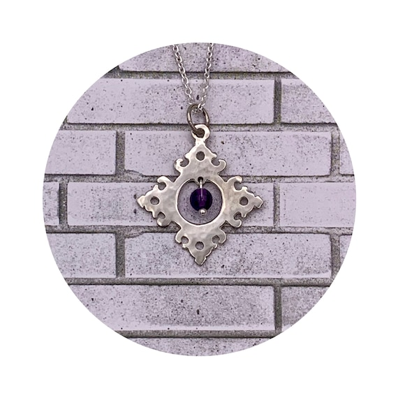 Wesley Diamond Amethyst Pendant in Sterling Silver - Victorian Details Architectural Collection - the Village of Round Lake