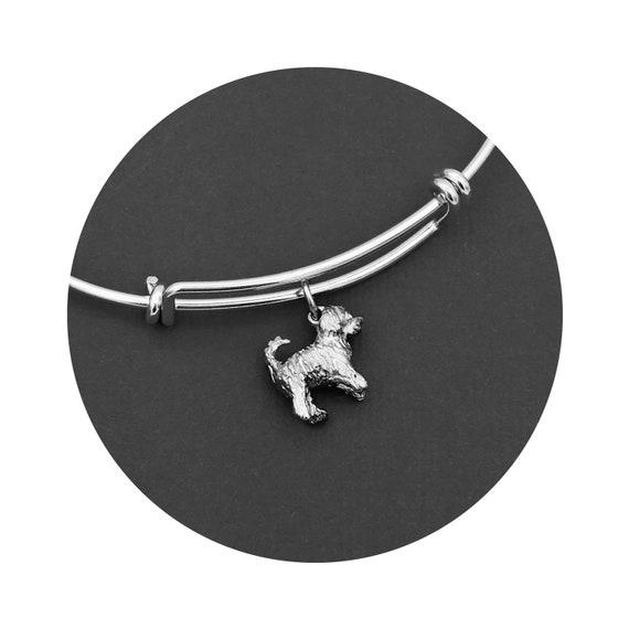 Travis Goldendoodle - Labradoodle Dog Travis Bangle Bracelet in Oxidized Sterling Silver